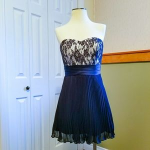 Bandeau Knife Pleat Skater Dress with Lace Top